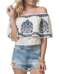 fe1d97bc0e2 Women's White Embroidered Off Shoulder Top, Blue Ripped Denim Shorts ...