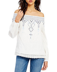 Skies Are Blue Off The Shoulder Long Sleeve Scalloped Lace Hem Embroidered Top