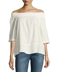 Current/Elliott The Embroidered Off The Shoulder Smocked Tee Dirty White
