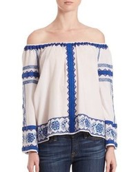 Love Sam Wanda Off The Shoulder Embroidered Top