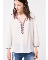 White Embroidered Peasant Blouse