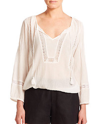 Joie Arcene Open Weave Peasant Top