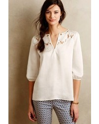 Anthropologie Cooper Ella Cut Flower Peasant Blouse