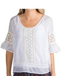 Dylan Luxe Peasant Blouse Cotton Silk Lacecrochet Detail Short Sleeve