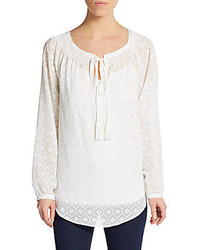 Embroidered tie neck blouse medium 233510