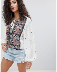 Free People Enter Loveland Embroidered Top