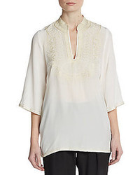 Nieves Lavi Embroidered Silk Top