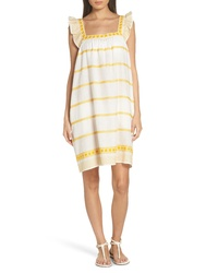 Tory Burch Embroidered Ruffle Linen Cotton Dress