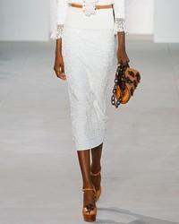Michael Kors Michl Kors Collection Soutache Embroidered Midi Skirt White