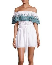 Embroidered off the shoulder romper medium 1197792
