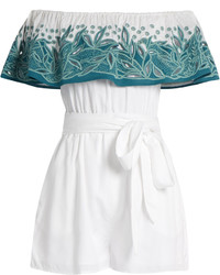 Mara Hoffman Leaf Embroidered Off The Shoulder Playsuit