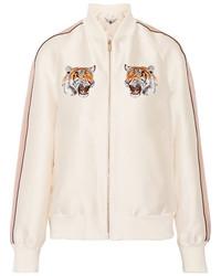 Stella McCartney Lorinda Embroidered Duchesse Satin Bomber Jacket Ivory
