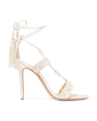 Etro Embroidered Lace And Satin Sandals