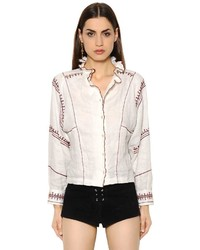 Etoile Isabel Marant Embroidered Ruffled Boxy Linen Shirt