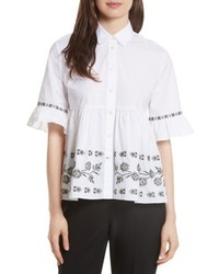 Kate Spade New York Embroidered Ruffle Shirt