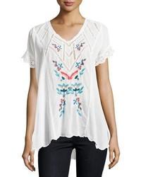 Vara short sleeve embroidered blouse white medium 5255399
