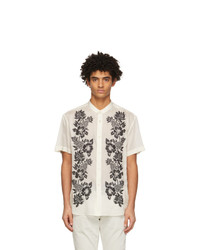 Saint Laurent Off White Embroidered Tunic Short Sleeve Shirt