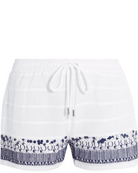 MICHAEL Michael Kors Michl Michl Kors Embellished Embroidered Cotton Shorts White