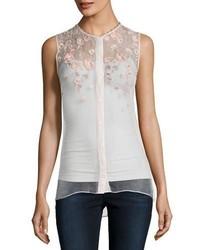 Elie Tahari Camila Sleeveless Embroidered Sheer Silk Blouse White