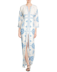 Vilshenko Embroidered Silk Maxi Dress