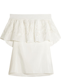 Tibi Car Off The Shoulder Embroidered Cotton And Silk Blend Top Ivory