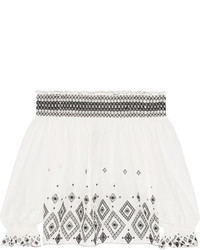 Rachel Zoe Off The Shoulder Embroidered Silk And Cotton Blend Top Ivory