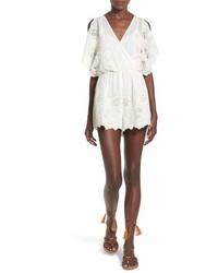 ASTR Alicia Embroidered Cotton Silk Cold Shoulder Romper