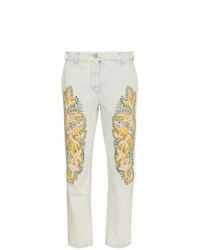 Gucci Crystal Embroidered Denim Jeans