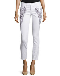 Embroidered skinny cropped jeans white medium 654737