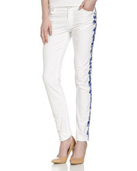 Skinny jeans with embroidered legs whiteindigo medium 14413