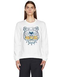 Kenzo White Embroidered Tiger Sweatshirt