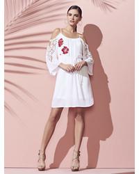 New York & Co. Crochet Trim Embroidered Cold Shoulder Swing Dress