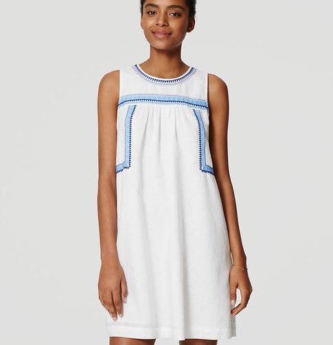 Petite Embroidered Swing Dress Crochet Insert Glamorous Women's Discounted