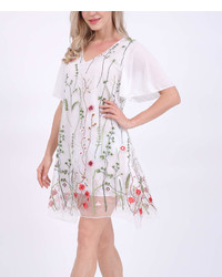 White Embroidered Sheer Layer Shift Dress Plus