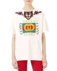 Gucci Embroidered Cotton T Shirt