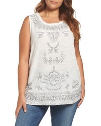 Lucky Brand Plus Size Embroidered Woven Knit Tank