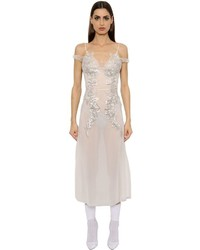 Francesco Scognamiglio Crystal Embroidered Tulle Dress