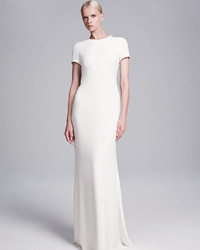 Calvin Klein Collection Open Back Crepe Gown Milk