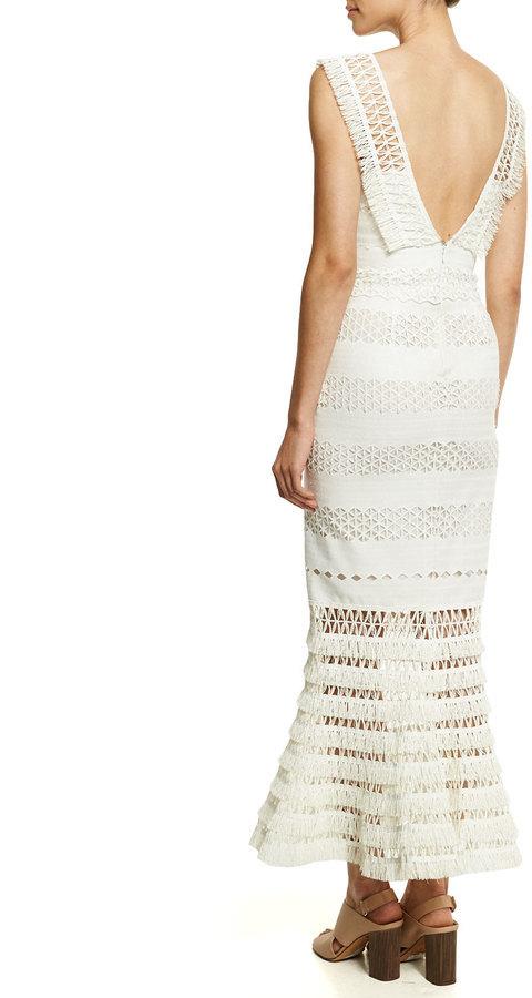 613183c82d031 JONATHAN SIMKHAI Mechanical Macrame Gown Ivory, $1,595   Bergdorf Goodman    Lookastic.com