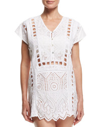 OndadeMar Whites Eyelet Tunic Coverup