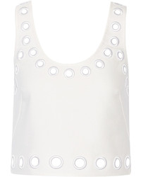3.1 Phillip Lim Embroidered Eyelet Cropped Cotton Blend Tank