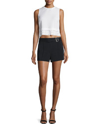 Henson crepe eyelet crop top white medium 561951