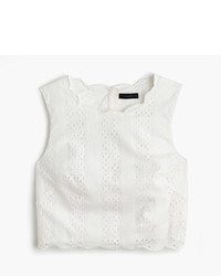Petite scalloped crop top in eyelet medium 3672195