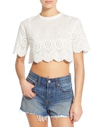 Somedays Lovin Daisy Embroidered Eyelet Crop Top