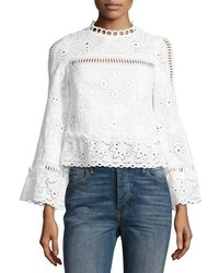 The eyes have it cropped poplin eyelet top white medium 4106560