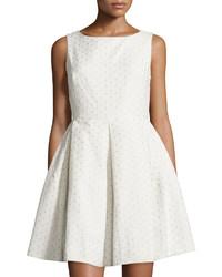 Taylor Eyelet Sleeveless Fit  Flare Dress Whitenude