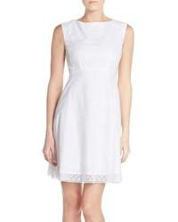 Tahari Floral Jacquard Eyelet Lace Fit Flare Cotton Dress