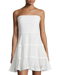 See by Chloe Strapless Eyelet Fit  Flare Dress White