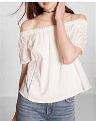 Express Off The Shoulder Eyelet Lace Blouse