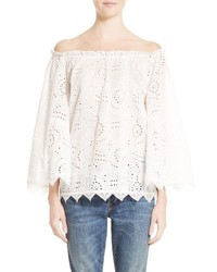 Burberry Thistle Eyelet Lace Off The Shoulder Blouse
